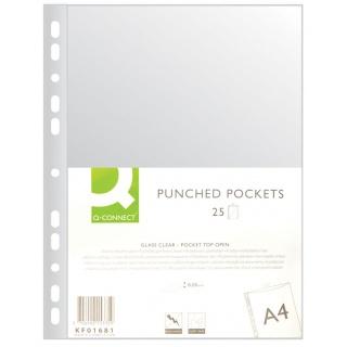 Koszulki na dokumenty Q-CONNECT, PP, A4, krystal, 50mikr., 25szt., Koszulki i obwoluty, Archiwizacja dokumentów