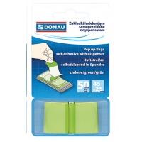 Zakładki indeksujące DONAU, PP, 25x45mm, 1x50 kart., transparentne zielone, Bloczki samoprzylepne, Papier i etykiety