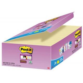 Bloczki samoprzylepne POST-IT® Super Sticky (622-SSCY-24VP), 47, 6x47, 6mm, 24x90 kart., żółte, 3 bloczki GRATIS