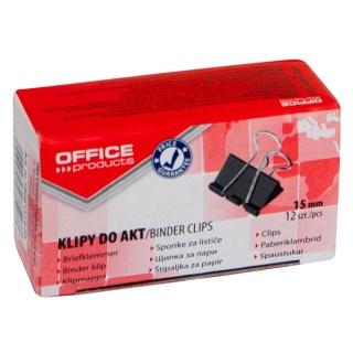 Klipy do dokumentów OFFICE PRODUCTS, 15mm, 12szt., czarne, Klipy, Drobne akcesoria biurowe