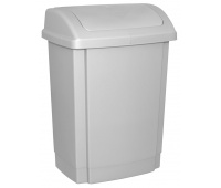 Waste bin with lid, OFFICE PRODUCTS, plastic, 15 l, grey