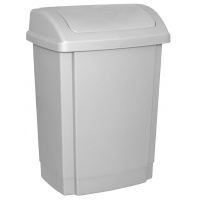 Kosz na śmieci z pokrywą OFFICE PRODUCTS, tworzywo, 15l, szary, Kosze metal, Wyposażenie biura