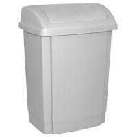 Kosz na śmieci z pokrywą OFFICE PRODUCTS, tworzywo, 25l, szary, Kosze metal, Wyposażenie biura