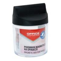 Pojemnik magn. na spinacze OFFICE PRODUCTS, okrągły, bez spinaczy, transparentny, Przyborniki na biurko, Drobne akcesoria biurowe