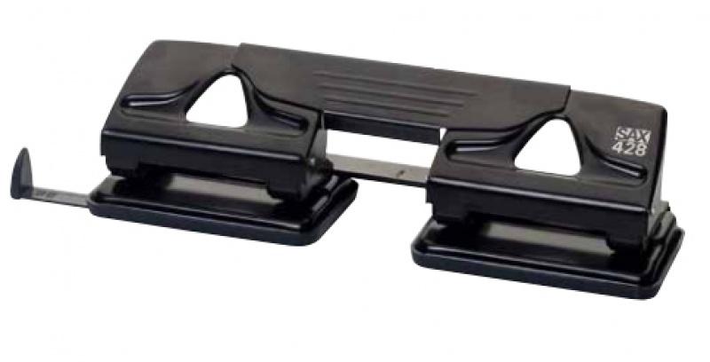 Dziurkacz SAX 428, dziurkuje poczwórnie 25 kartek, czarny, Dziurkacze, Drobne akcesoria biurowe