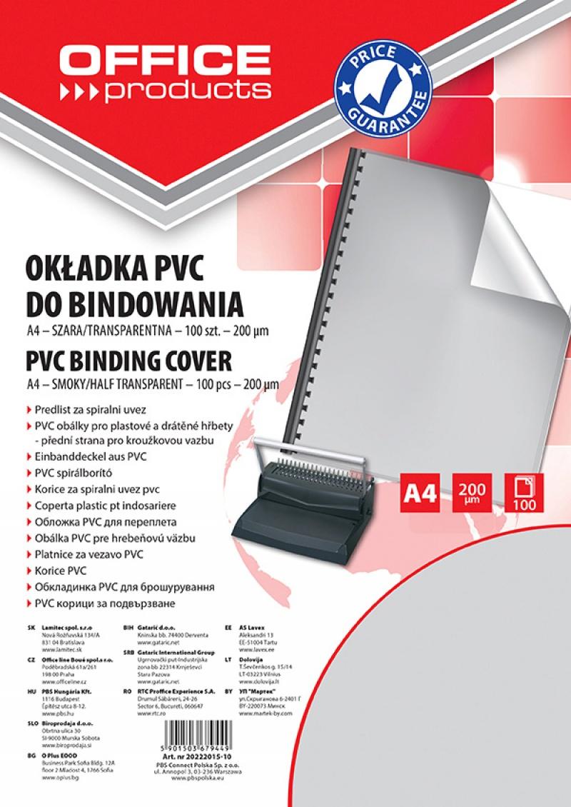 Okładki do bindowania OFFICE PRODUCTS, PVC, A4, 200mikr., 100szt., szare transparentne, Akcesoria do laminacji i bindowania, Prezentacja