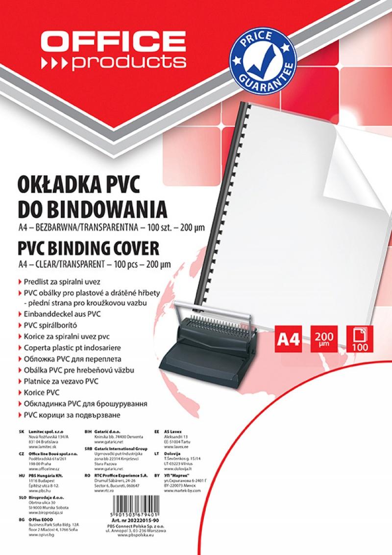 Okładki do bindowania OFFICE PRODUCTS, PVC, A4, 200mikr., 100szt., transparentne, Akcesoria do laminacji i bindowania, Prezentacja