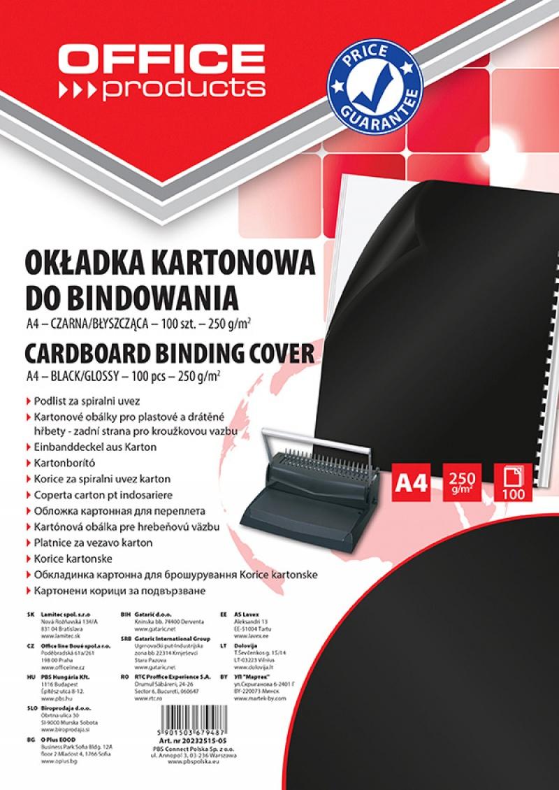 Okładki do bindowania OFFICE PRODUCTS, karton, A4, 250gsm, błyszczące, 100szt., czarne, Akcesoria do laminacji i bindowania, Prezentacja