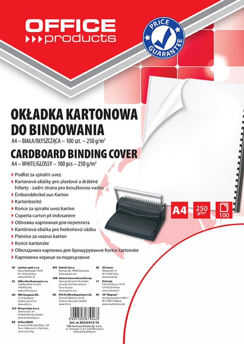 Okładki do bindowania OFFICE PRODUCTS, karton, A4, 250gsm, błyszczące, 100szt., białe, Akcesoria do laminacji i bindowania, Prezentacja