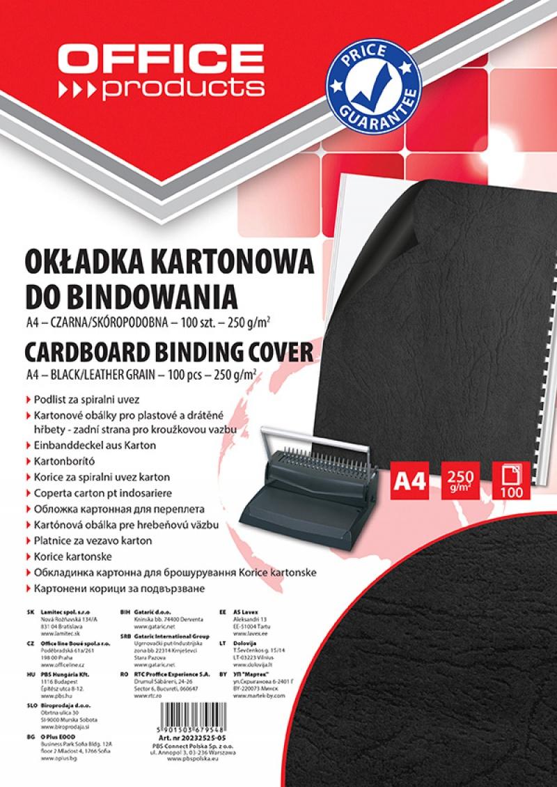 Okładki do bindowania OFFICE PRODUCTS, karton, A4, 250gsm, skóropodobne, 100szt., czarne, Akcesoria do laminacji i bindowania, Prezentacja