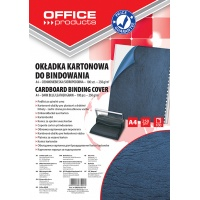 Binding covers, OFFICE PRODUCTS, cardboard, A4, 250 gsm, 100 pcs, leather-like, dark blue