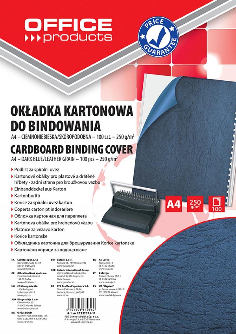 Okładki do bindowania OFFICE PRODUCTS, karton, A4, 250gsm, skóropodobne, 100szt., ciemnoniebieskie, Akcesoria do laminacji i bindowania, Prezentacja