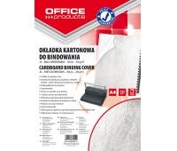 Okładki do bindowania OFFICE PRODUCTS, karton, A4, 250gsm, skóropodobne, 100szt., białe, Akcesoria do laminacji i bindowania, Prezentacja