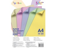 Papier kolorowy GIMBOO, A4, 100 arkuszy, 80gsm, 5 kolorów pastelowych, Papiery specjalne, Papier i etykiety