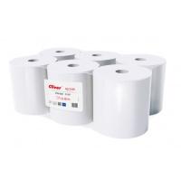 Ręczniki w roli białe, LAMIX, 130m, 6 sztuk, 1-warstwowe,, Ręczniki papierowe i dozowniki, Artykuły higieniczne i dozowniki