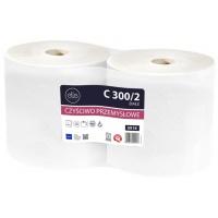 Ręczniki w roli białe, LAMIX, czyściwo maxi, 300m, 2 sztuki,, Ręczniki papierowe i dozowniki, Artykuły higieniczne i dozowniki