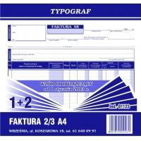 Faktura 1+2, 2/3 A4, TYPOGRAF, 01123, Faktury, Druki akcydensowe
