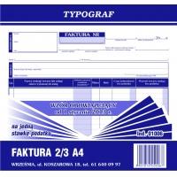 Faktura na jedną stawkę podatku, 2/3 A4, TYPOGRAF, 01006, Faktury, Druki akcydensowe