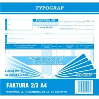Faktura z ceną brutto na jedną stawkę podatku, 2/3 A4, TYPOGRAF, 01007, Faktury, Druki akcydensowe