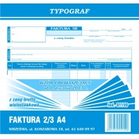 Faktura z ceną brutto (wielostaw. ), 2/3 A4, TYPOGRAF, 01159, Faktury, Druki akcydensowe