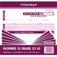 Rachunek za usługę, 2/3 A5, TYPOGRAF, 01027, Rachunki, Druki akcydensowe