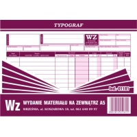 Wz, A5, TYPOGRAF, 01181, Obrót towarowy, materiałowy i magazynowy, Druki akcydensowe