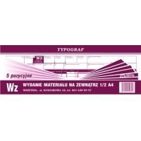 Wz, 1/2 A4, TYPOGRAF, 01082, (5 pozycyjne), Obrót towarowy, materiałowy i magazynowy, Druki akcydensowe