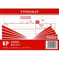 KP, dowód wpłaty, A6, TYPOGRAF, 01047, Druki kasowe i księgowe, Druki akcydensowe