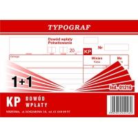 KP, dowód wpłaty, 1+1, A6, TYPOGRAF, 01216, Druki kasowe i księgowe, Druki akcydensowe