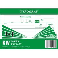 KW, dowód wypłaty, 1+1, A6, TYPOGRAF, 01228, Druki kasowe i księgowe, Druki akcydensowe
