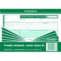 Protokół reklamacji, zwrot towaru, A5, TYPOGRAF, 01163, Druki kasowe i księgowe, Druki akcydensowe