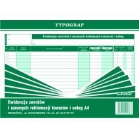 Ewidencja zwrotów i uznanych reklamacji towarów i usług, A4, TYPOGRAF, 02288, offsetowy, Druki kasowe i księgowe, Druki akcydensowe