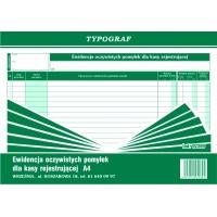 Ewidencja oczywistych pomyłek dla kasy rejestrującej, A4, TYPOGRAF, 02289, offsetowy, Druki kasowe i księgowe, Druki akcydensowe