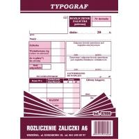 Rozliczenie zaliczki, A6, TYPOGRAF, 02006, offsetowy, Druki kasowe i księgowe, Druki akcydensowe