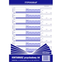 Kwitariusz przychodowy - numerowany, A4, TYPOGRAF, 01078, Druki kasowe i księgowe, Druki akcydensowe