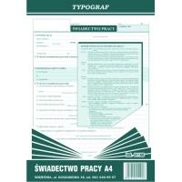 Świadectwo pracy, A4, TYPOGRAF, 01106, Kadry i płace, Druki akcydensowe