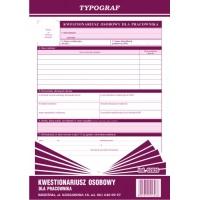 Kwestionariusz osobowy dla pracownika, A4, TYPOGRAF, 02026, offsetowy, Kadry i płace, Druki akcydensowe