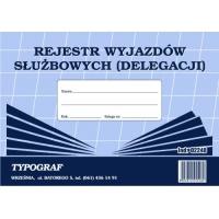 Rejestr wyjazdów służbowych (delegacji), A5, TYPOGRAF, 02248, offsetowy, Kadry i płace, Druki akcydensowe