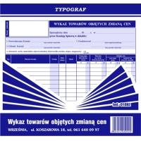 Wykaz towarów objętych zmianą cen, 2/3 A4, TYPOGRAF, 01092, Pozostałe, Druki akcydensowe