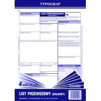 List przewozowy krajowy 4-odcinkowy bloczek, A4, TYPOGRAF, 01210, Transportowe, Druki akcydensowe