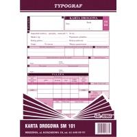 Karta drogowa na samochody osobowe Sm 101, A5, TYPOGRAF, 02063, offsetowy, Transportowe, Druki akcydensowe