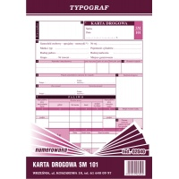 Karta drogowa na samochody osobowe Sm 101 numerowana, A5, TYPOGRAF, 02040, offsetowy, Transportowe, Druki akcydensowe