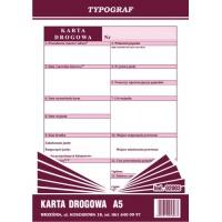 Karta drogowa rozliczenie czasu pracy kierowcy, A5, TYPOGRAF, 02003, offsetowy, Transportowe, Druki akcydensowe