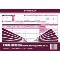 Karta drogowa na samochody ciężarowe Sm 102, A4, TYPOGRAF, 02064, offsetowy, Transportowe, Druki akcydensowe