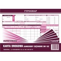 Karta drogowa na samochody ciężarowe Sm 102 numerowana, A4, TYPOGRAF, 02041, offsetowy, Transportowe, Druki akcydensowe