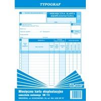 Miesięczna karta eksploatacyjna Sm 113, A5, TYPOGRAF, 02047, offsetowy, Transportowe, Druki akcydensowe