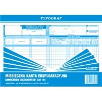 Miesięczna karta eksploatacyjna Sm 114, A4, TYPOGRAF, 02048, offsetowy, Transportowe, Druki akcydensowe