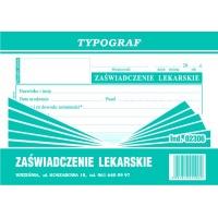 Zaświadczenie lekarskie, A6, TYPOGRAF, 02306, offsetowy, Medyczne, Druki akcydensowe