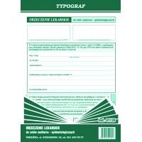 Orzeczenie lekarskie do celów sanitarno - epidemiologicznych, A5, TYPOGRAF, 01139, Medyczne, Druki akcydensowe