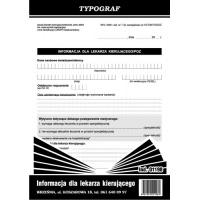 Informacja dla lekarza kierującego, A5, TYPOGRAF, 01198, Medyczne, Druki akcydensowe